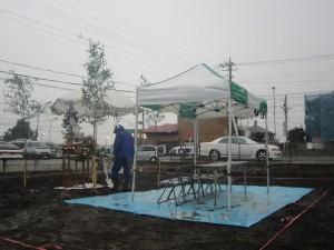 地鎮祭の設営準備