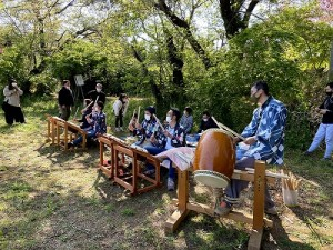 栗原祭保存会による太鼓の練習