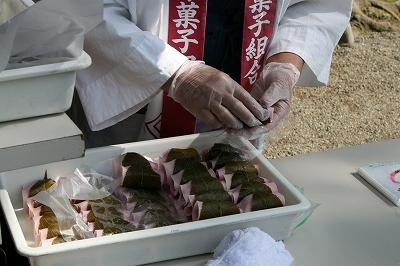 桜餅の製作実演