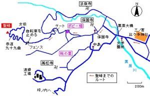 神社から聖峰への略図